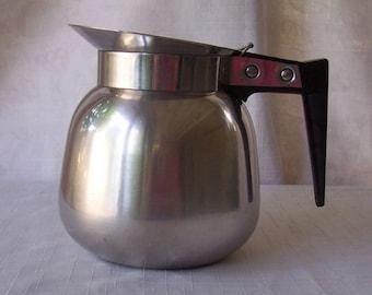 Vintage stainless steel coffee water carafe.  CF279-.25