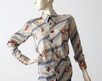 SALE 1970s Italian nylon shirt, Nik Nik style button down