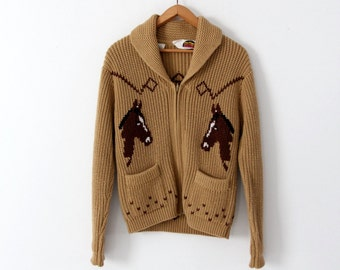 1970s Miller horse cardigan, chunky knit novelty sweater