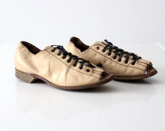 vintage Hyde bowling shoes, custom open toe leather lace ups, size 7