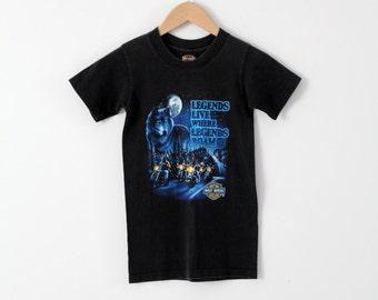 vintage Harley Davidson t-shirt, wolf moon kid's biker t-shirt