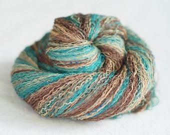 Gradient Silk Yarn, 550 yards, Recycled Yarn, Silk Thread, Brown Beige, Teal, Hand Dyed, Lot #23