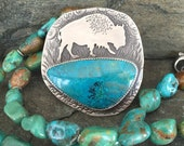 Buffalo Necklace, bison, buffalo skull, art jewlery, Sterling Silver, chrysocolla, turquoise, beaded necklace, Two-sided, buffalo medicine