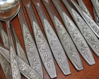 Customcraft vintage Flatware -CUS1 Roses on Handle Mid Century Modern Silverware set vintage BIN 56