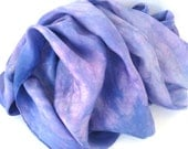 SALE   ...   large hand dyed silk scarf  ...  abstract ...   purple ...   periwinkle  ...    mauve