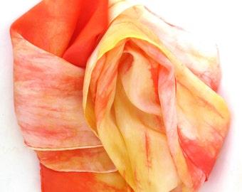 SALE   ...    orange and tangerine  ...   hand dyed silk scarf  ...   autumn