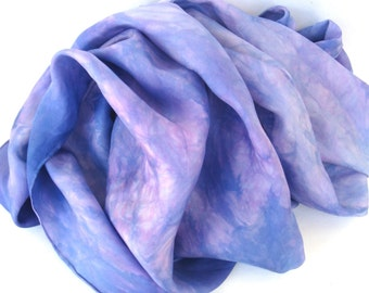 SALE   ...   large hand dyed silk scarf  ...   purple ...   periwinkle  ...    mauve