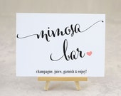 Mimosa Bar Sign, Wedding Sign, Party Signage, Bridal Shower Decoration, Bar Sign, Printed Sign, - Size 5 x 7 (A7SIGN - CAN)