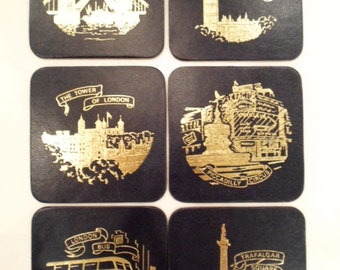 Vintage London Navy and Gold Souvenir Drink Coasters set of 6