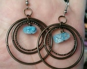 NEW GIFT IDEAS - Triple Hoop and Crackled Quartz Earrings