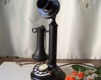 Antique Candlestick Pedestal Phone Pat USA Jan 14, 93 Western Electric Phone Upright Desk Phone Rotary Dial Phone Ringer Box