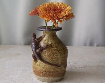 Adorable Miniature Stoneware Pottery Vase Lizard Desert Southwest Signed Decor Vintage 1970s