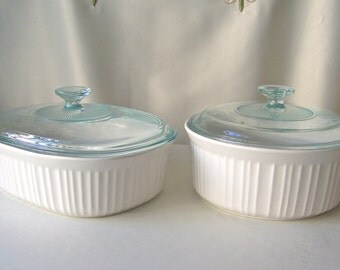 Vintage Corning Ware French White Casserole Dishes Covered Classic White Round & Oval CorningWare Vintage 1980s