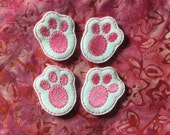 BUNNY FEET Felt Embellishment - Machine Embroidered Embellishment /  Applique - Set Of 4 ~ Ready To Ship ~ Available Cut Or Uncut
