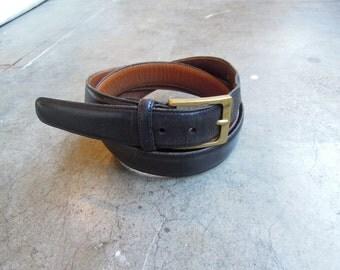 TRAFALGAR Black Leather Belt Brass Buckle Cortina Size 42/105