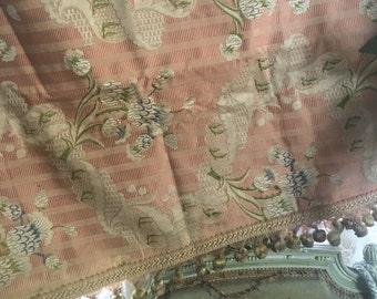 c1890 Antique 19th Century French Woven Silk Pink Floral Curtain Panel Fabric Perfecr For Pillows Bobble Trim W8