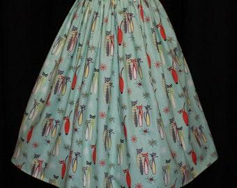 Vintage 1950s inspired aqua atomic kitties full dirndl skirt  S Rockabilly Viva VLV
