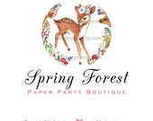 Spring Forest  OOAK Deer Character Illustrated Premade Logo design-Will not be resold