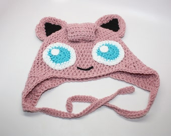 Crochet Jigglypuff Hat / Handmade Character Hat / Earflap Hat / Jigglypuff Costume / All Sizes Newborn Baby Kids Adult