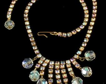"Vintage Juliana Tara D&E Aurora Borealis Rhinestone Fringe Bead Necklace 16"""