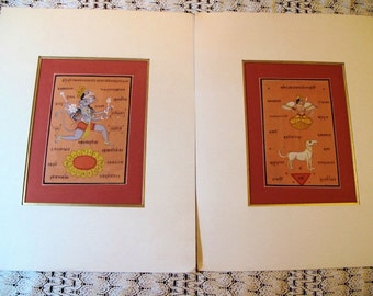 "Tantric Paintings, Paper Miniature Paintings from Rajasthan, Pair-Matted,14""x18""inches"