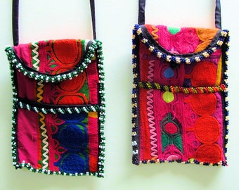 Tribal Shoulder Bags,Tote Bags, Wallets/ Purses, Double Sided Hand Embroidery from Uzbekistan -Pair