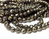 Full Strand 8 mm Natural Pyrite Faceted Round Beads Gemstone 64 Faces (G5930R35)