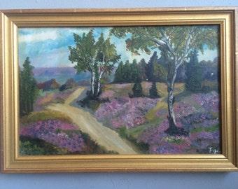 Vintage Landscape Oil Painting Featuring Lavender and Trees Original Artwork signed Fipi Fibi