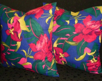 Decorative Throw Pillows - Set of Two 18 Inch Pillow Covers - Beautiful Jewel Tone Floral