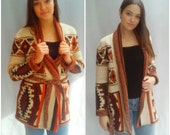 Space Dye Wrap Sweater ViNtAgE 70's WINTUK Cuff Sleeves Chunky Cardigan Bohemian HiPPiE BoHo Ethnic Tribal Aztec M Geo