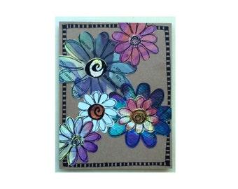 Paper Flower Garden series 1 - 4.25x5.5 card (PSGS-0037) - Handmade Blank Card