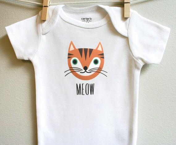 Baby boy clothes tabby cat baby bodysuit orange cat baby