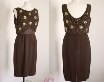 Vintage 1950s - 1960s Chocolate Brown Gold Sequin Wiggle Mad Men Dress Medium