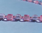 Shiny clear pale pink necklace