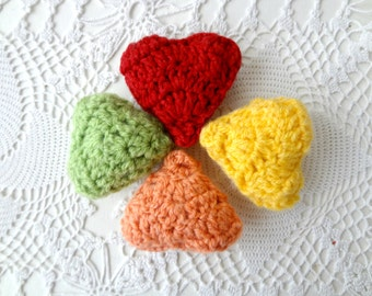 Crocheted Hearts- crochet set, filled hearts, 3D hearts, craft supply, amigurumi hearts, decorative hearts,toys,baby mobile,plushies