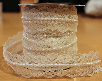Ivory Lace and Pearl Beaded Trim Ribbon - 1 Metre