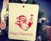 "Santa says ""Happy Chanukah"" letterpress ornament"