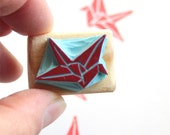 Japanese Origami Crane tiny stamp, hand carved, wood mounted