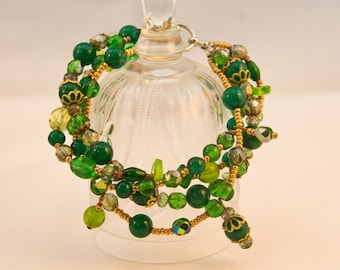 Green Beaded Multistrand Bracelet With Dyed Agate