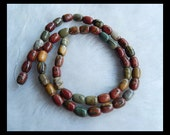 Multi-Color Picasso Jasper Loose Bead,1Strand,40cm In the Lenght,8x6mm,24.16g