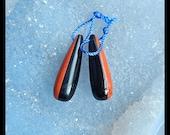 Obsidian,Red River Jasper Intarsia Tube Gemstone Earring Bead,28x9mm,5.3g