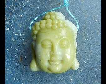 Carved Serpentine Buddha Head Pendant Bead,31x23x11mm,13.7g