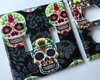 Sugar Skull Double Light Switch Plate Cover/ Day Of The Dead / Sugar Skull Home Decor/ Teen Room Decor / Calaveras / Candy Skull / Kitchen