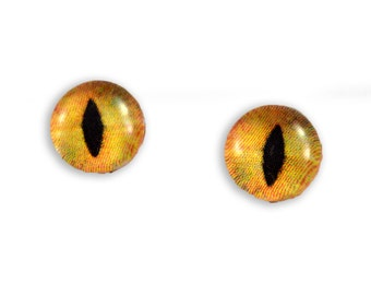 8mm Orange Cat or Dragon Glass Eye Cabochons - Taxidermy Eyes for Doll or Jewelry Making - Set of 2