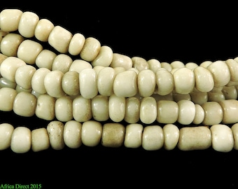 3 Strands Seed Trade Beads White African 101582