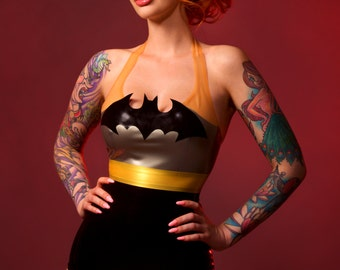 Batgirl inspired cosplay latex playsuit