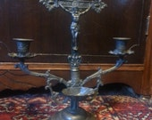 Clearing Set:  Vintage 2 Piece  Crucifix, Embroidered Altar Cloth, Holy Water Bottle & Candles