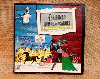 CHRISTMAS...The ROBERt SHAW CHORALe - Christmas Hymns and Carols - 1952 Vintage 4 RED Vinyl 45 rpm Boxed Record