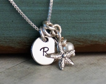 Small Initial Tag with Starfish Necklace / Hand Stamped Custom Jewelry / Personalized Sterling Silver Necklace
