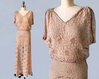1930s Wedding Dress / 30s SPIDERWEBS! Lace Gown / Long Elegant Nude Lace Bridal Gown